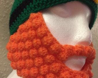 Leprechaun beanie hat with orange bobble beard