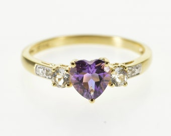 10k Heart Cut Amethyst Cubic Zirconia Diamond Accent Ring Gold