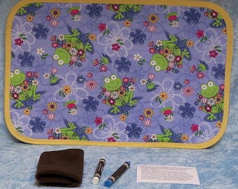 Childrens blackboard placemat, frog pattern fabric