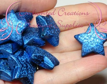 20mm Shimmery Royal Blue Star Beads Qty 10, Stardust Coated, Bubblegum Beads, Gumball Bead, Chunky, Sparkly Beads, Large Glitter Beads