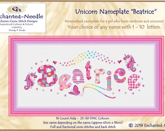 Customized Unicorn Sampler// Name Cross Stitch // Unicorn Name Sampler // Unicorn Rainbow Personalized Cross Stitch Nameplate Sampler