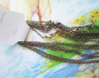 12pc 18 inch antiqued bronze plated flat cable chain necklace---very strong