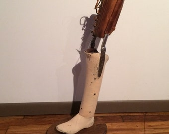 Antique Prosthetic Leg with stand