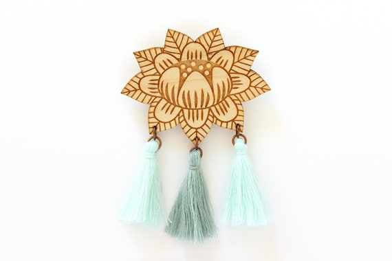 Flower brooch with 3 tassels - light teal and mint - wooden floral pin - stylized vegetal jewelry - folk jewellery - lasercut wood accessory