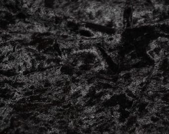 Black Panne Crush Velvet Backdrop Apparel Stretch Fabric - By The Yard - 60""