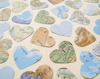 1 Inch World Map Atlas Confetti Hearts - Choose from amounts of 100 to 1000 - Wedding Travel Decor