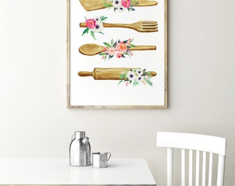 Kitchen print - Kitchen utensils poster - Kitchen wall art - Watercolor art - Kitchen decor - Rustic kitchen decor - shabby kitchen decor