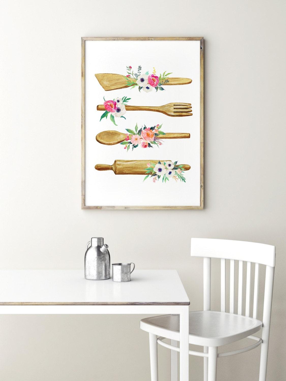 Druck Küchenutensilien Plakat Küche-Wand-Kunst