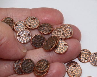 Copper Hammered Discs, 4+ TierraCast Antiqued Lead Free Pewter, Two (2) Hole Flat Discs, 11mm Links Connectors