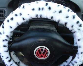 Fuzzy Steering Wheel Cover, Dalmatian Print Steering Wheel Cover, Car accesories, Furry Steering Wheel, Animal Print Steering Wheel Cover
