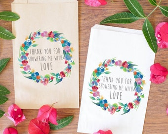Shower Favor Bags, Baby Shower Treat Bags, Bridal Shower Gift Bags, Wedding Favor Bags, Custom Watercolor Favors BBS-100