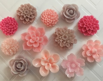 Flower Magnets Set of 12 - (#LE2) dorm decor, hostess gift, weddings, bridal shower, baby shower, gift, teacher gift