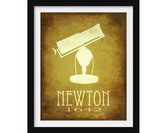 Physics Gift, Science Print, Isaac Newton Physics Poster, Math Gift, Astronomy Gift, Home School Classroom Decor, STEM Educational Poster