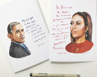 Set of two Michelle and Barack Obama cards, portrait and Inspiring quote, 5x7 card, Ready to Ship