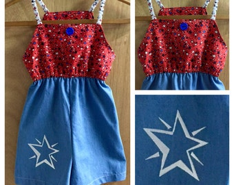 4th of July Cotton and Denim Jumper, girls size 8
