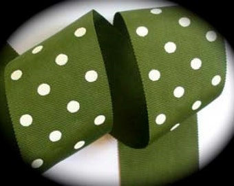 """Vintage Ribbon - 2"""" x 1 yard Olive Green and White Dots"""