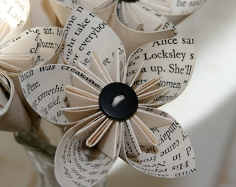 Book page Flowers, Paper Flowers, Origami, Kusudama flowers