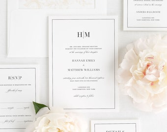 Glam Monogram Wedding Invitations - Sample