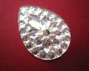 Vintage crystal faceted stone glass flatback pear or teardrop shape 25 x 18 mm