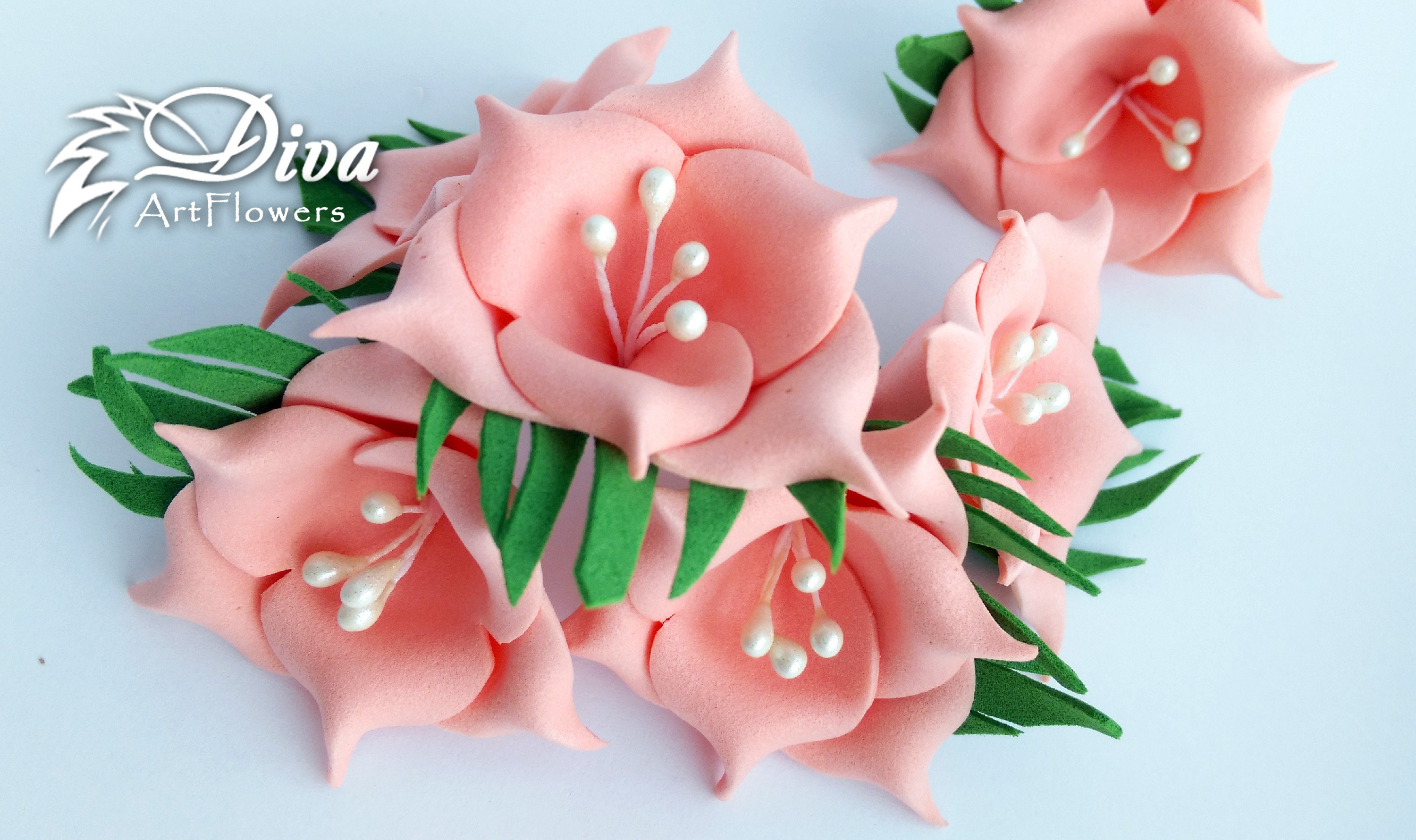 Peach and white color flowers | Artificial Flowers | 10 pcs flowers ...