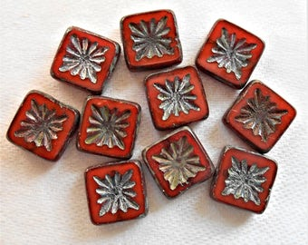 Ten 10mm x 10mm square opaque rusty red carved, table cut, picasso Czech glass beads, front and back carved C0701