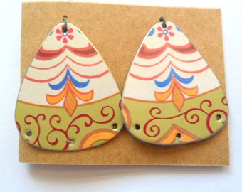 Upcycled Swedish Wish Cookie Tin Earring Findings Pair