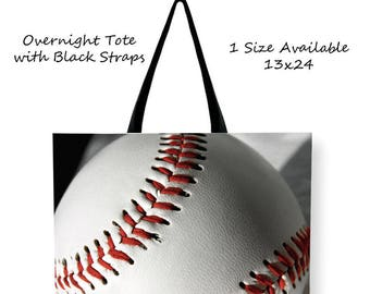 Baseball Overnight Tote Bag-Baseball Tote Bag-Sports Tote-Canvas Tote Bag-Shopping Bag-Cross Body Tote-Rope Handle Tote-Sports Snack Bag