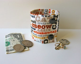Secret Stash Wrist Wallet  Money Cuff - Whiskers- hide your cash, coins, key, jewels, in a secret inside zipper...
