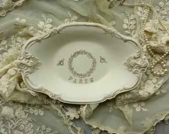 Paris Tray - French Tray - White Tray - French Paris Wreath Tray - Cream Wedding Tray - Decorative Tray - Serving Tray - Wedding Decor