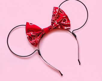 Red Bandana and Black Wire Mouse Ears Headband