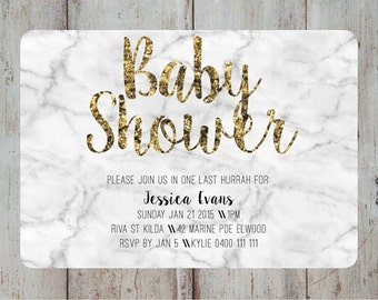 Baby Shower Invite - Shower Invitation - Birthday Invite - Custom Invite - Marble Invitation - Printable Invite - Invitation Template -