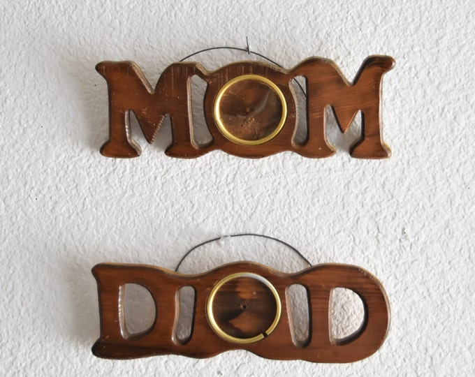 mid century wooden mom dad wall hanging picture frame