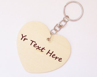 Personalized Wood Keychain / Keyring, Heart Wood, Custom kids party gift
