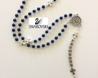 Blue Lapis Swarovski Rosary, Personalized Rosary, Swarovski Rosary, Boy's First Communion Rosary, Boy's Confirmation Gift (Crosses)
