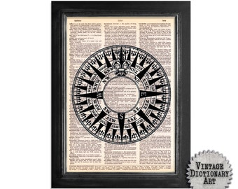 Nautical Navigation Compass Art - Print on Vintage Dictionary Paper - 8x10.5