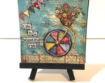 FIVE YEAR SALE Bike Decor, Bicycle with flowers Painting, Print and Easel Set, Life is a beautiful ride