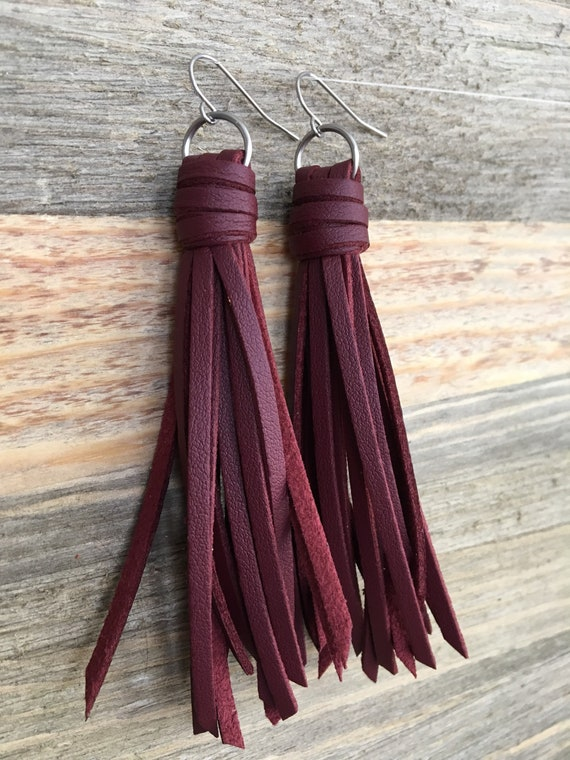 "Tassel Earrings, Deep Red Tassel Earrings, Fringe Earrings, Long Earrings, Dangle Earrings, Gift for Her, Gift Under 25 -Choose 2.5"" or 3.5"""