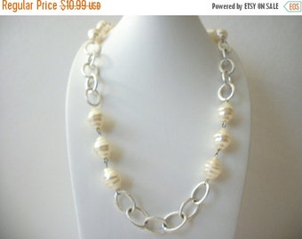 ON SALE Vintage GEGRGE Stamped Silver Links Molded Faux Pearls Necklace 82116