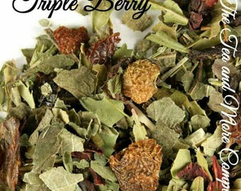Triple Berry Tea... Loose Leaf Tea, Strawberry, Blueberry, Rose, Fruity, Gift, Birthday