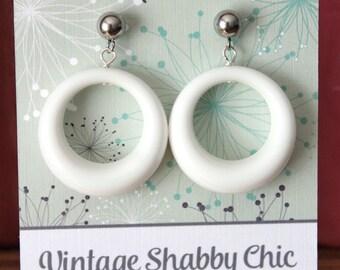 Handmade repro white loop earrings