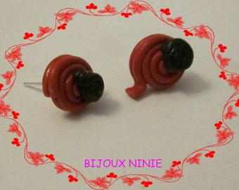 Red licorice Fimo candy chip earrings