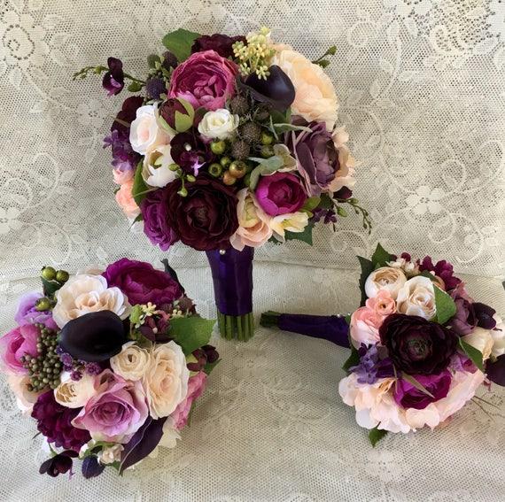 Wedding bouquetplum purple bridal bouquetsilk wedding