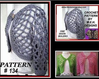 Crochet PATTERN, crochet  summer shrug num 134,  One Skein Open Weave Shrug, Make it long or short sleeve...size S,  M. and L. and x-L