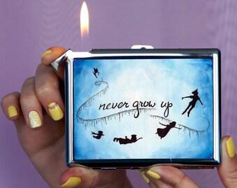 Cigarette case never grow up, Chrome Lighter, unusual lighters, Lighter Peter Pan, vintage cigarette case, vintage, metal cigarette case