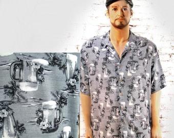 beer button up shirt - beer drinking shirt -  short sleeve shirt -Dad's gift shirt , men's summer shirt - size 3 XL , # 25