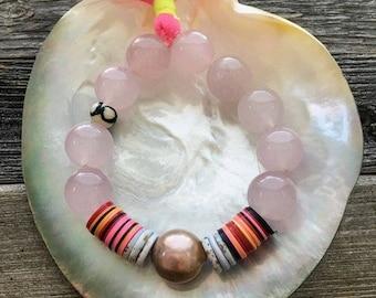 Bracelet Quartz rose   Edison métallique Pearl   Disque vinyle africain   OS   Perle de Tribal   Pompon fluo   Bohème
