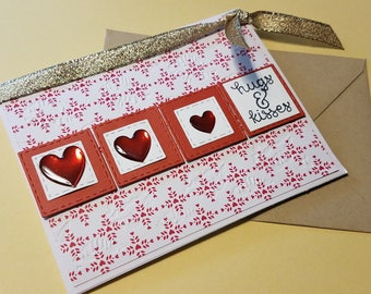 Hugs and Kisses Greeting Card - Valentine's Day Hearts Card - Love Card - Just a Note Card - Just Because Card