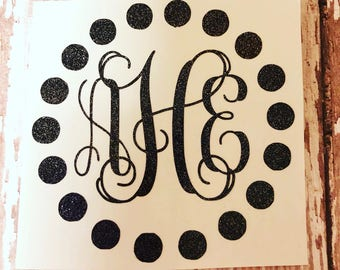 Circle Dot Monogram Decal Sticker