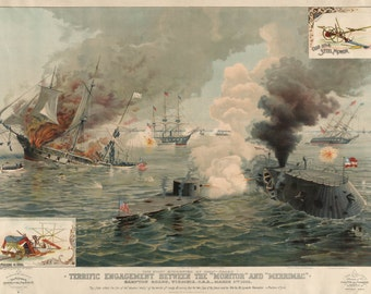 Civil War Print Reproductions. Terrific Engagement Between the Monitor and Merrimac, March 9, 1862. Fine Art Print