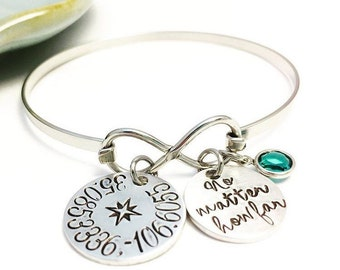 No matter how far ~ Coordinates ~ Long Distance ~ Wanderlust Infinity Bangle ~ Silver ~ Gold ~ Rose Gold ~ Latitude Longitude ~ Bracelet